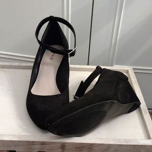 Black faux suede ankle strap wedges. True wide!